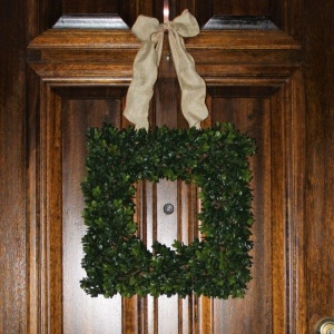 Realistic faux boxwood wreath